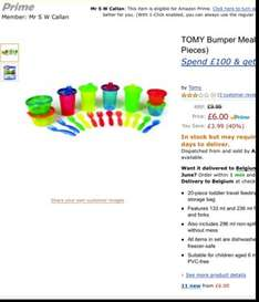 TOMY Bumper Mealtime Kit (20 Piece) £6 @ amazon  (free delivery £10 spend/prime/Amazon locker)