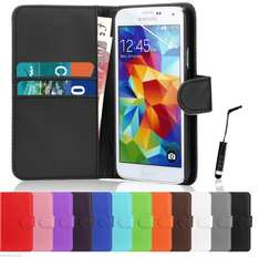 Book Flip Leather Wallet Case Cover For Samsung Galaxy S5 i9600 Screen Protector PLUS FREE STYLUS PEN just 0.99p delivered via mobile zombie on ebay
