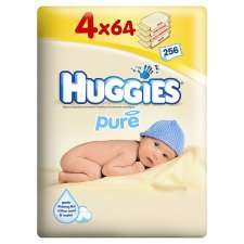 Huggies Pure Wipes 4 x 64 £3.00 @ Tesco