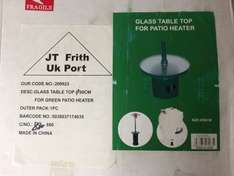 Round green glass table top for patio heater only 56p at JTF
