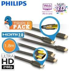 3PACK Philips High Speed HDMI 3D 4K 1.8 metre cables RRP £74.97 NOW £17.90 delivered @ iBOOD.