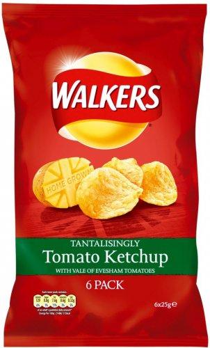 Walkers Crisps - Tomato Ketchup (6x25g) 4 for £4.00 at Tesco / Asda