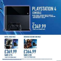 PS4 Console + Infamous or Watchdogs £364.99 @ Game instore