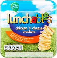 Lunchables Ham 'n' Cheese Crackers or Chicken & Cheese (102g)  was £1.50 now any 2 for £2.00 @ Sainsbury's