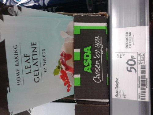 Pack of 12 sheets of leaf gelatine 50p @ Asda