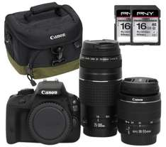 Canon EOS 100D camera kit inc. EF-S 18-55mm f/3.5-5,6 III + EF 75-300 mm f/4-5.6 III Lens + bag + 2x 16 GB sdhc mem. cards £499.99  + free collection in store currys.co.uk