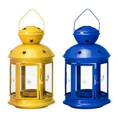 Ikea Rotera Lantern Yello Blue £1.50