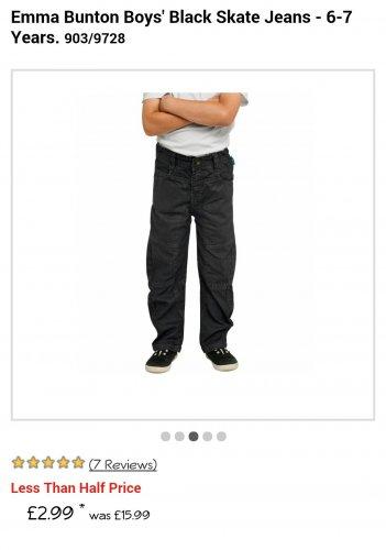 Emma Bunton Boys' Black Skate Jeans - 6-7 Years £2.99 @ Argos