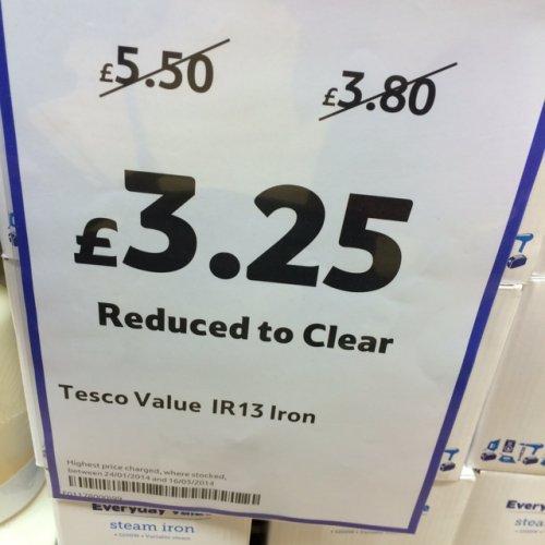 Steam iron £3.25 @ Tesco