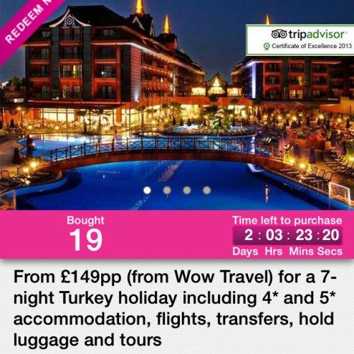 7 nights in Turkey from £149 in 4-5* hotel in December!! @ wowcher