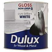 Dulux Non-drip Gloss paint. Pure Brilliant White, 2.5L £12 Free delivery to store @ Tesco Direct