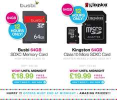 Busbi 64GB SDXC Memory Card (Now: £18.99)  / Kingston 64GB Class 10 Micro SDXC Flash Card (Now: £19.99) - Day 2 Day - Free Delivery  - ENDS MIDNIGHT