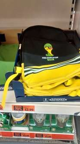Brazil world cup racksack reduced £2.99 @ sainsburys