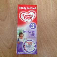Cow & Gate stage 3 follow on milk ready to drink 200ml. 29p in store @ home bargains