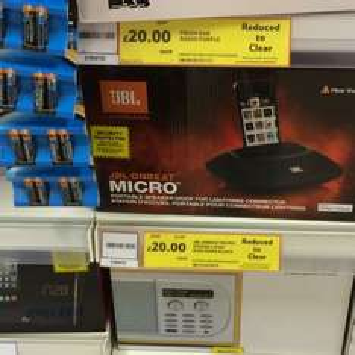 JBL OnBeat Micro Portable Speaker Dock with Lightning Connector tesco instore £20