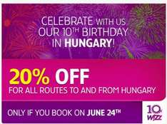 20% off booking today (24.06.2014)from or to Hungary at Wizzair