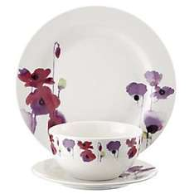 Watercolour Poppy 12-piece Dinner Set £10 @ Sainsbury's