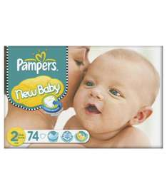 Pampers New Baby Size 2 Mini Nappies (3-6kg /6-13lbs) - 74 pack £8.79 at Mothercare