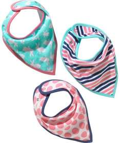 Bunny, Stripe and Spot Print Bibs 3 Pack - One Size £1.49 @ Argos
