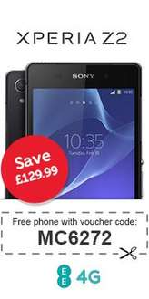 Its Back - Free Sony Xperia Z2 for £23.99pm (500mins, Unlimited Texts, 500MB Data) on 4GEE at Mobile Phones Direct - Using Voucher Code MC6272 to save £129.99 @ mobilephonesdirect