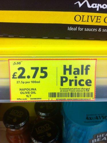 Napolina Olive Oil 1Lt- Half price @ Tesco - £2.75 - Cheapest..