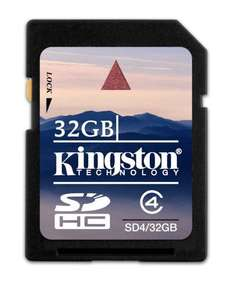 Kingston Technology Secure Digital Memory Card 32GB SDHC Class 4 SD4/32GB £4.99 @ Amazon (free delivery £10 spend/prime)