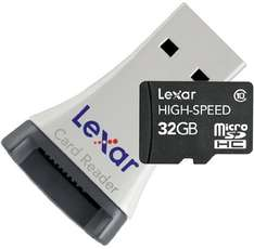 Lexar 32GB Micro SDHC High Speed Card with Reader - Class 10 Extreme Speed £11.50 @ Amazon