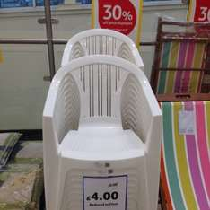 White plastic garden chair £4 each, then 30% is taken off at the till at Tesco