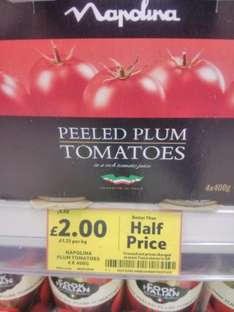Napolina Chopped and Peeled Plum Tomatoes £2.00  400g x 4. Tesco National and Online