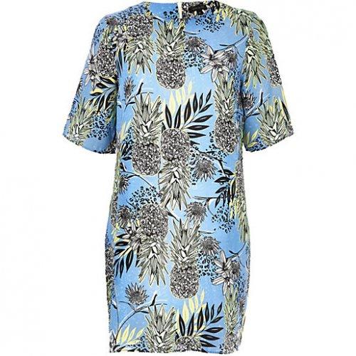 BLUE PINEAPPLE PRINT T-SHIRT DRESS @ river island £10.00