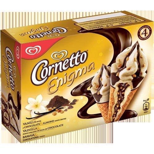 Cornetto Enigma 4pack £1 @ Farmfoods (vanilla with chocolate & almond sauce centre/Vanilla with a raspberry&dark chocolate sauce centre/Yummy cookie flavour ice cream& chocolate flavour sauce core)