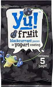 Yu! Fruit Blackcurrant pieces in yogurt coating .. 5 pack (5 x 25g) was £2 now 50p instore @ sainsburys