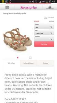 kids Pretty Neon Beaded Sandal was £20 now £9 store pick up @ acessorize