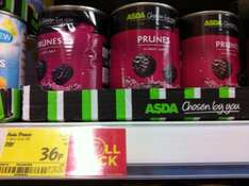 Asda tinned prunes in apple juice 419g  36p