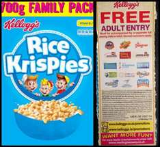Rice krispies large 700g box £2 with free adult entry to Alton towers and other attractions sainsburys