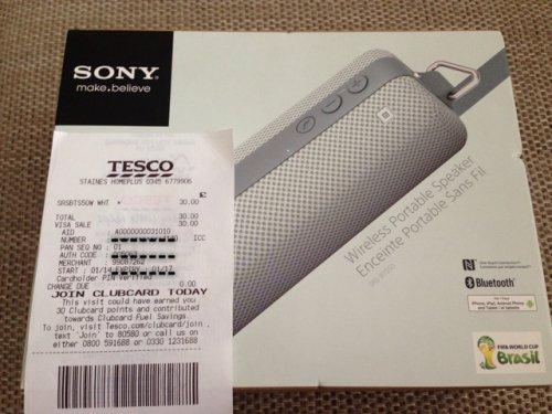 Sony Bluetooth/NFC Speaker - SRS-BTS50  £30 @ Tesco instore