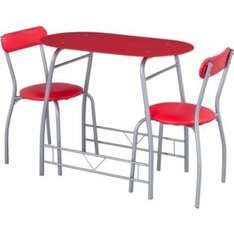 Miami Red Glass Dining Table and 2 Chairs Breakfast Set £54.99 at Argos