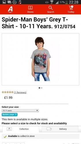 Spider-Man Boys' Grey T-Shirt 8-9 & 10-11 Years. 912/0754 £1.99 @ Argos