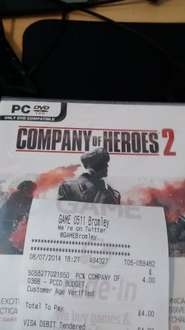 Company of Heroes 2 £4 @ Game instore Bromley