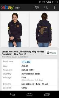 Joules Ebay Outlet Mary King Hooded Sweatshirt Size 10 just £10 (RRP £64.95...!)