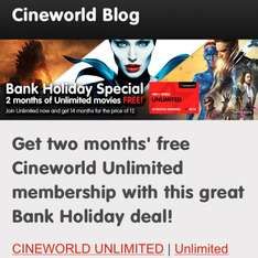 2 Free Months On All Cineworld Memberships - Sign Up To Get This Deal