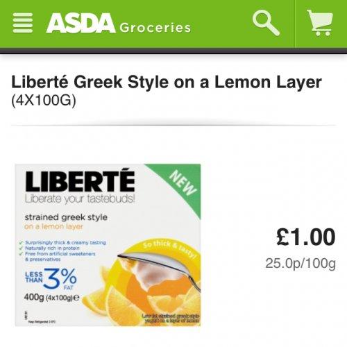 Liberte Greek style yogurts £1.00 for 4 in Asda