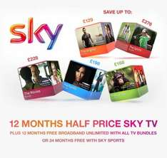 50% off sky tv for 12 months and 12 months free broadband @ vouchercodes