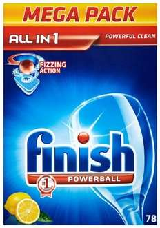 Amazon Finish Dishwasher tablets offer (78 Powerball for £7 or 45 Quantum for £5.40)