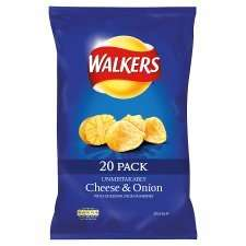Walkers Cheese & Onion Crisps 20 x 25g packs - Half-Price £2.49 at Tesco from 09/07/2014