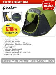 SUMMIT POP-UP, 2 PERSON Tent for £22.50 delivered @ CPC