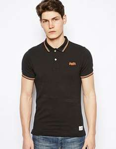 Superdry Polo Shirt Black with Tipping £17 + FREE DELIVERY @ Asos