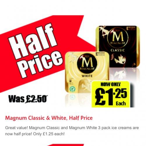 Magnum Classic & White, Half Price  3 pack £1.25 at Iceland