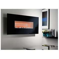 Midnight Black Glass Frame Wall Hung Electric Fire £134 delivered at B&Q