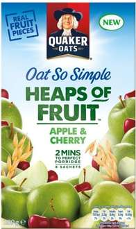 Quaker Oat So Simple Heaps of Fruit (8 per pack - 284g to 294g) (Varieties as stocked) was £2.59 now £1.29 @ Tesco